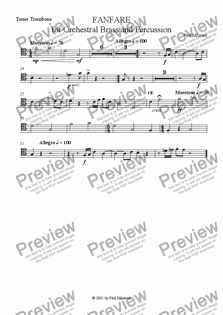 page one of the Tenor Trombone 1 part from Fanfare for Orchestral Brass and Percussion