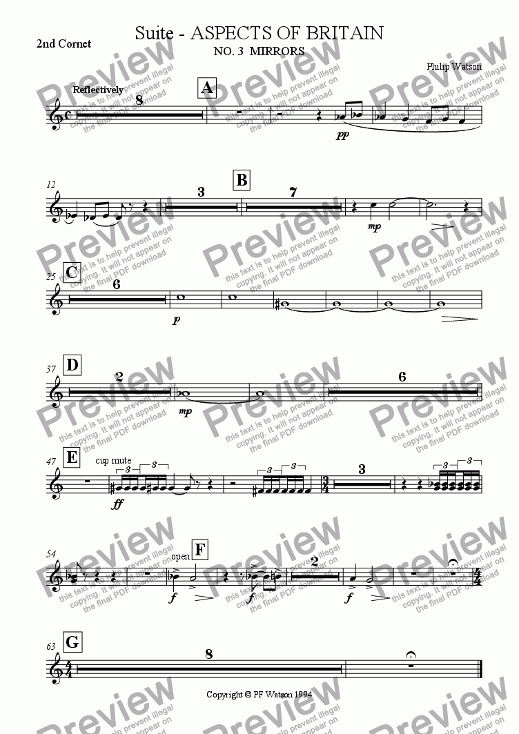 page one of the 2nd Cornet part from SUITE: Aspects of Britain No.3 MIRRORS