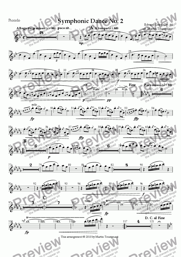 page one of the Piccolo part from Symphonic Dance No. 2