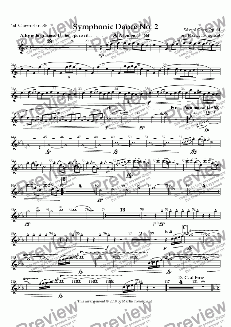page one of the Clarinet 1 part from Symphonic Dance No. 2