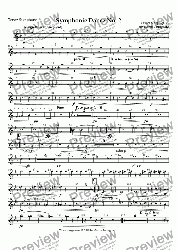 page one of the Tenor Saxophone part from Symphonic Dance No. 2