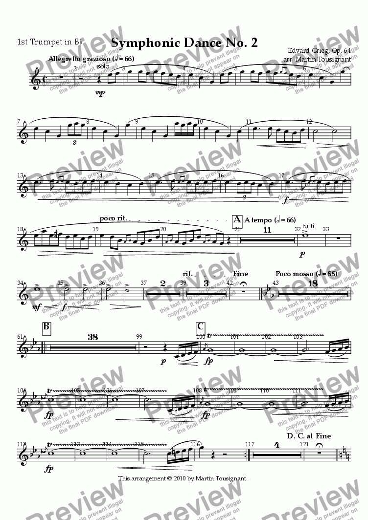 page one of the Trumpet 1 part from Symphonic Dance No. 2