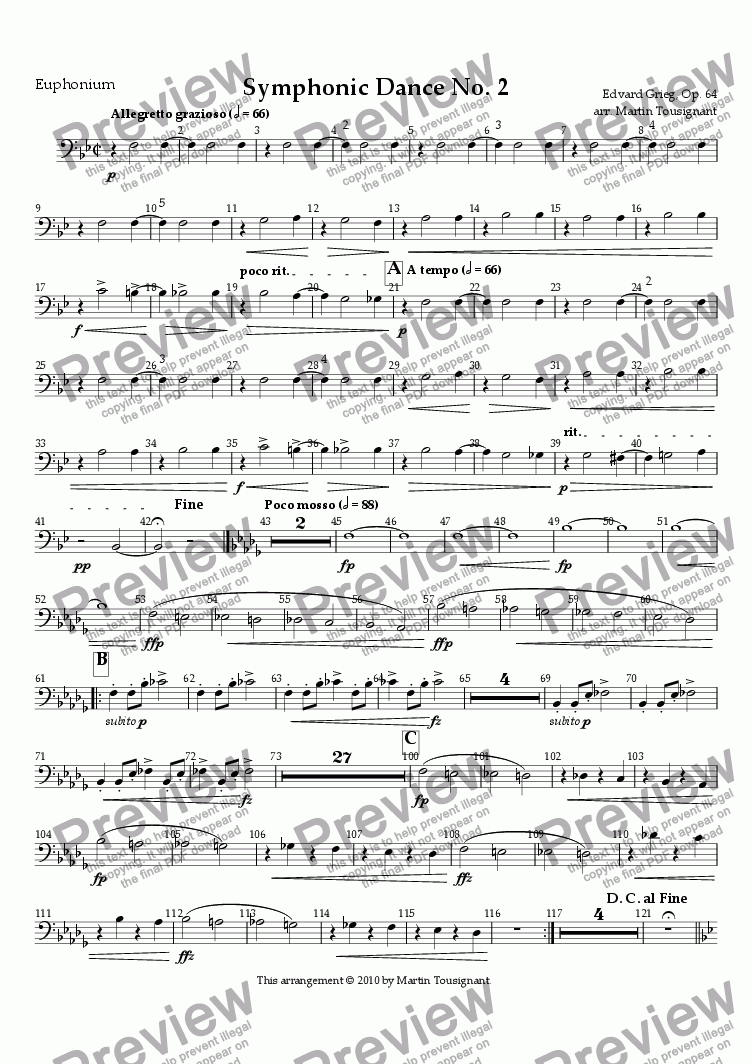 page one of the B. C. Euphonium part from Symphonic Dance No. 2