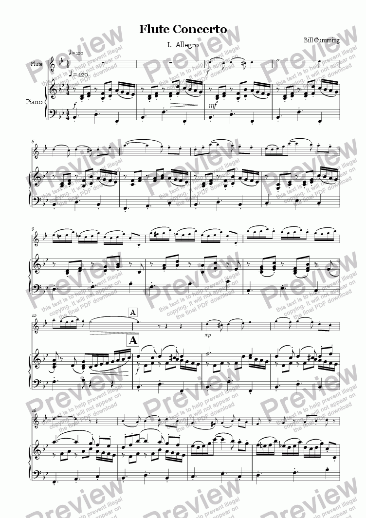 page one of the Piano Score part from Flute Concerto 1st mvt - Allegro