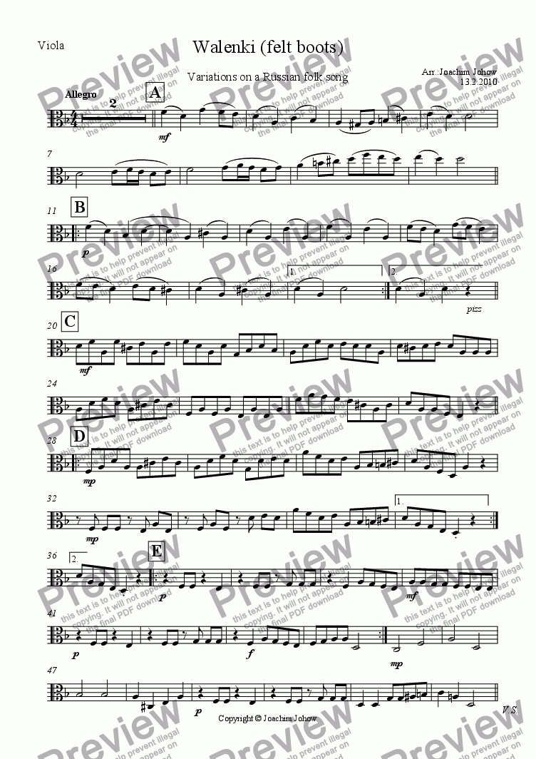 page one of the Vla part from Walenki (Variations on a Russian Folk Song)