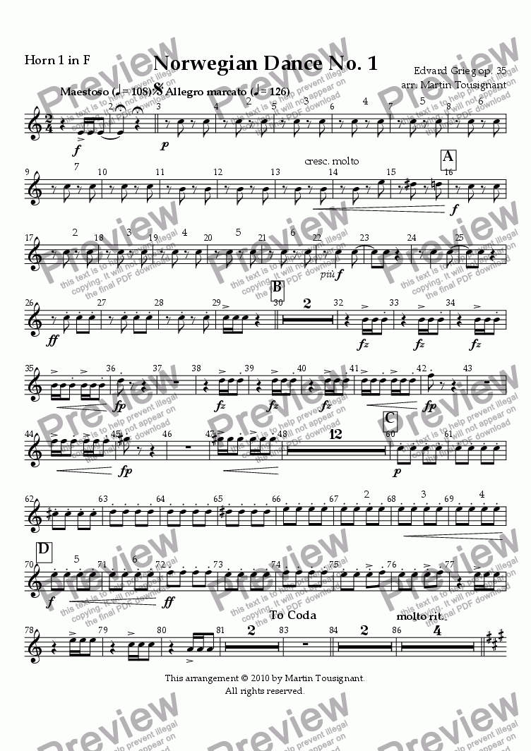 page one of the Horn 1 part from Norwegian Dance No. 1