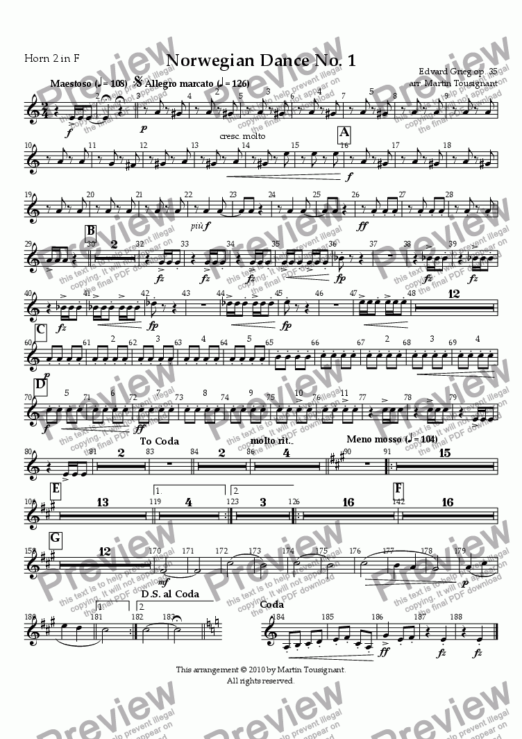 page one of the Horn 2 part from Norwegian Dance No. 1