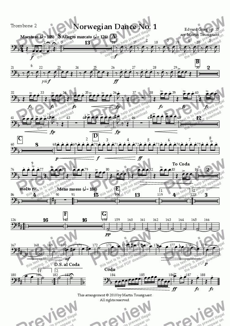 page one of the Trombone 2 part from Norwegian Dance No. 1