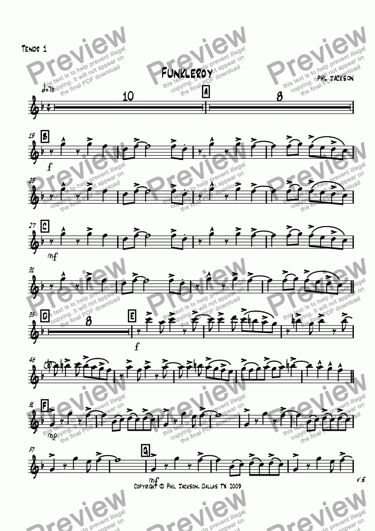page one of the Tenor Sax 1 part from Funkleroy