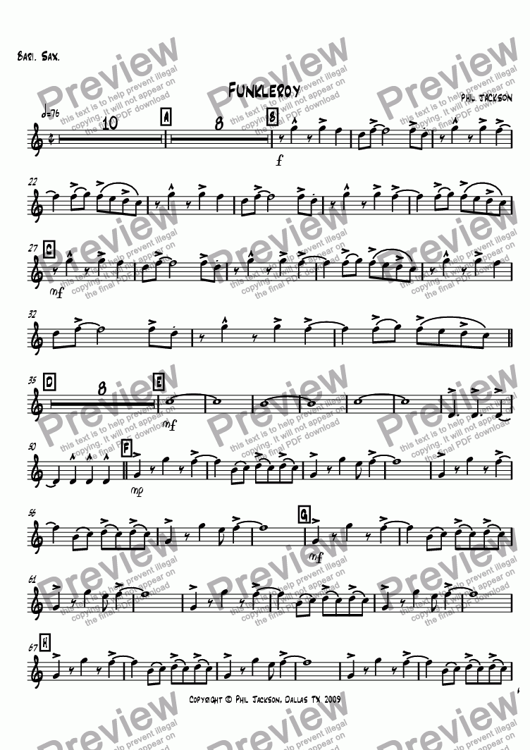 page one of the Bari Sax part from Funkleroy