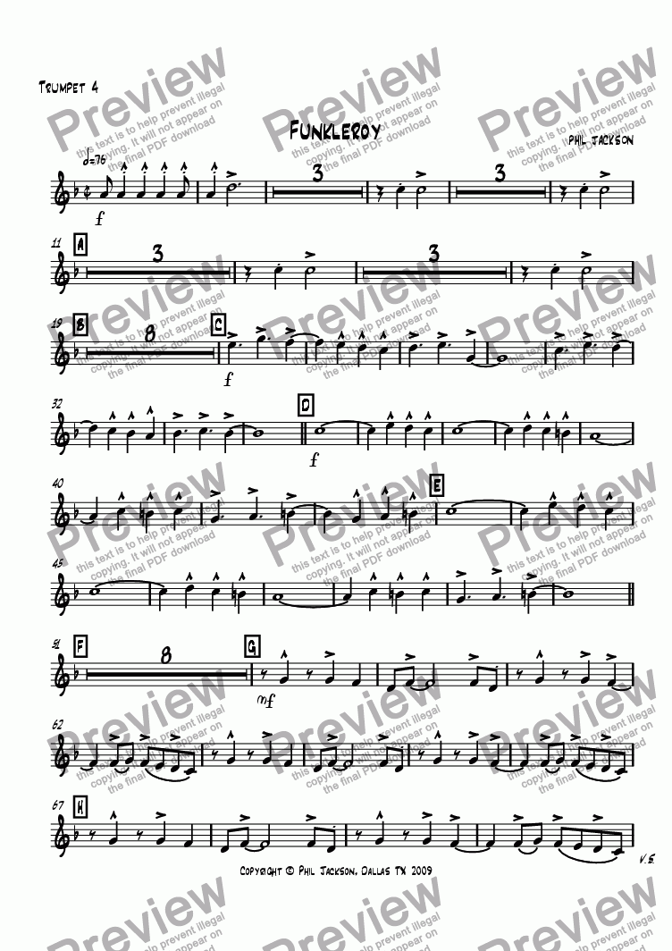 page one of the Trumpet 4 part from Funkleroy