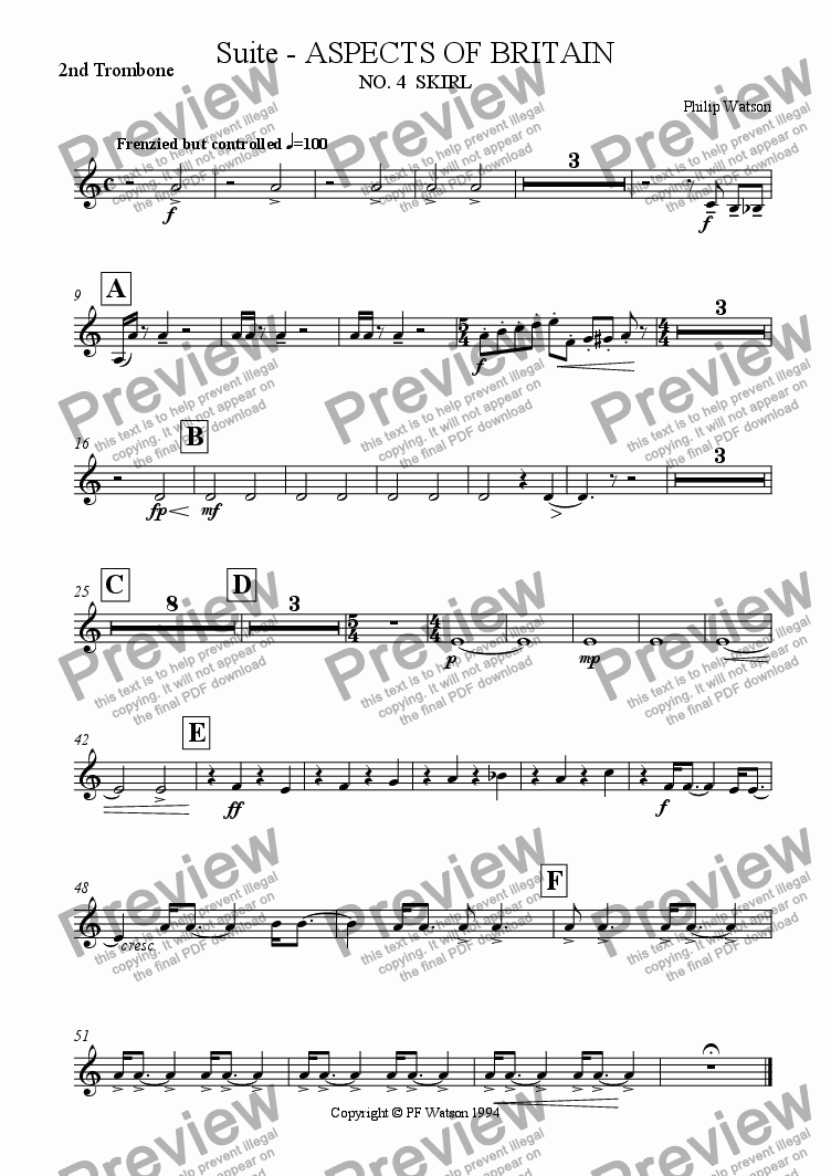 page one of the 2nd Trombone part from SUITE: Aspects of Britain No.4 SKIRL