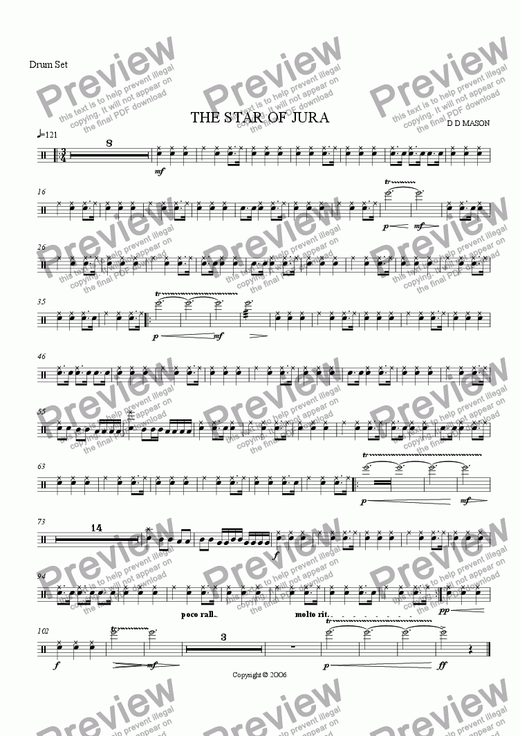 page one of the Drum Set part from THE STAR OF JURA