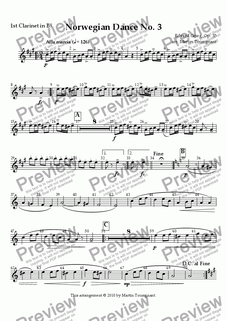 page one of the Clarinet 1 part from Norwegian Dance No. 3