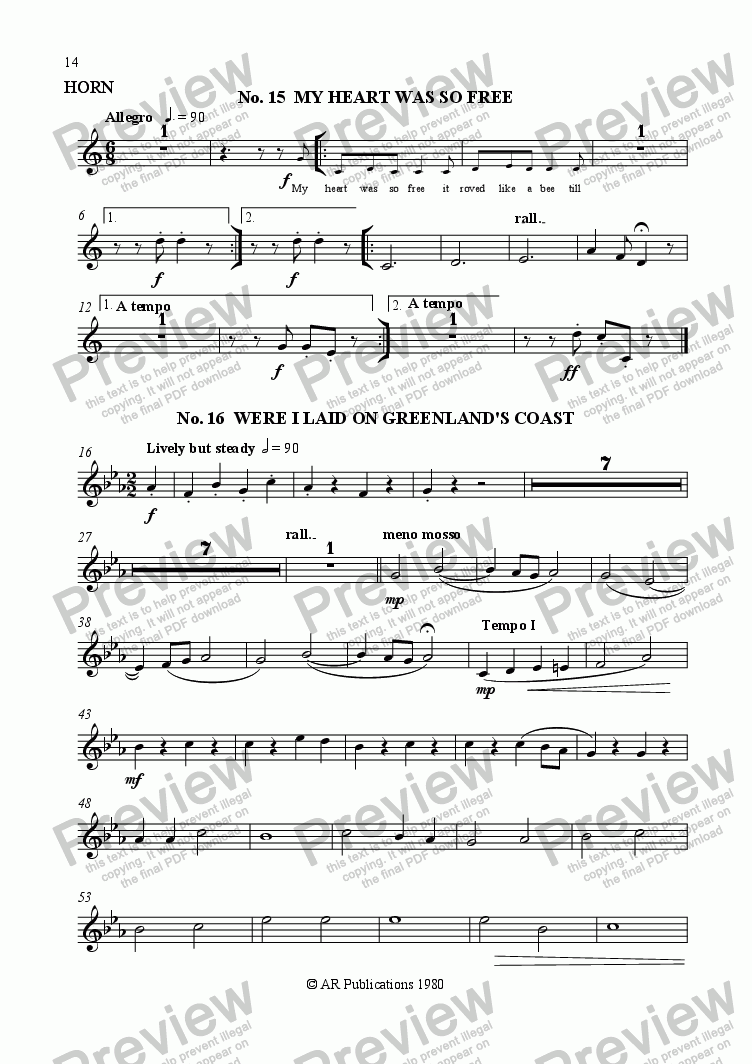 page one of the Horn part from Beggar's Opera - No. 15, 16, 17 & 18