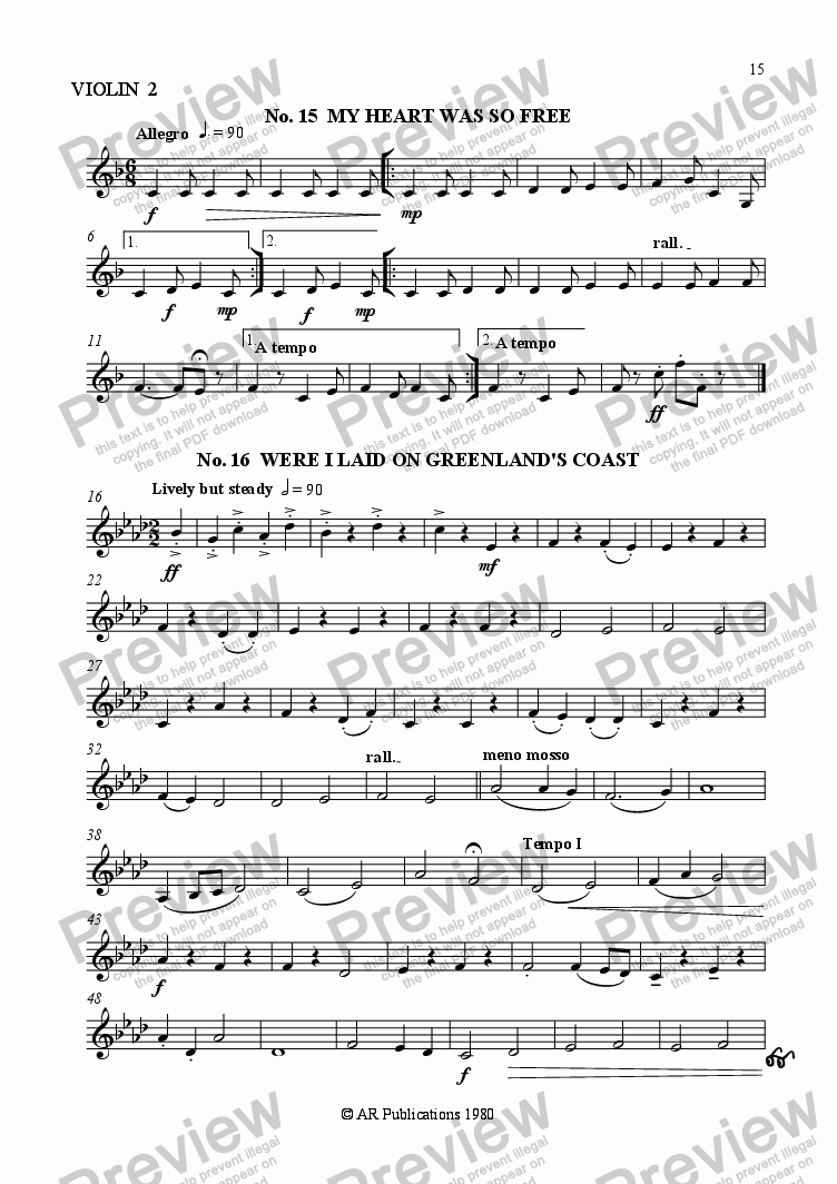 page one of the Vln. 2 part from Beggar's Opera - No. 15, 16, 17 & 18