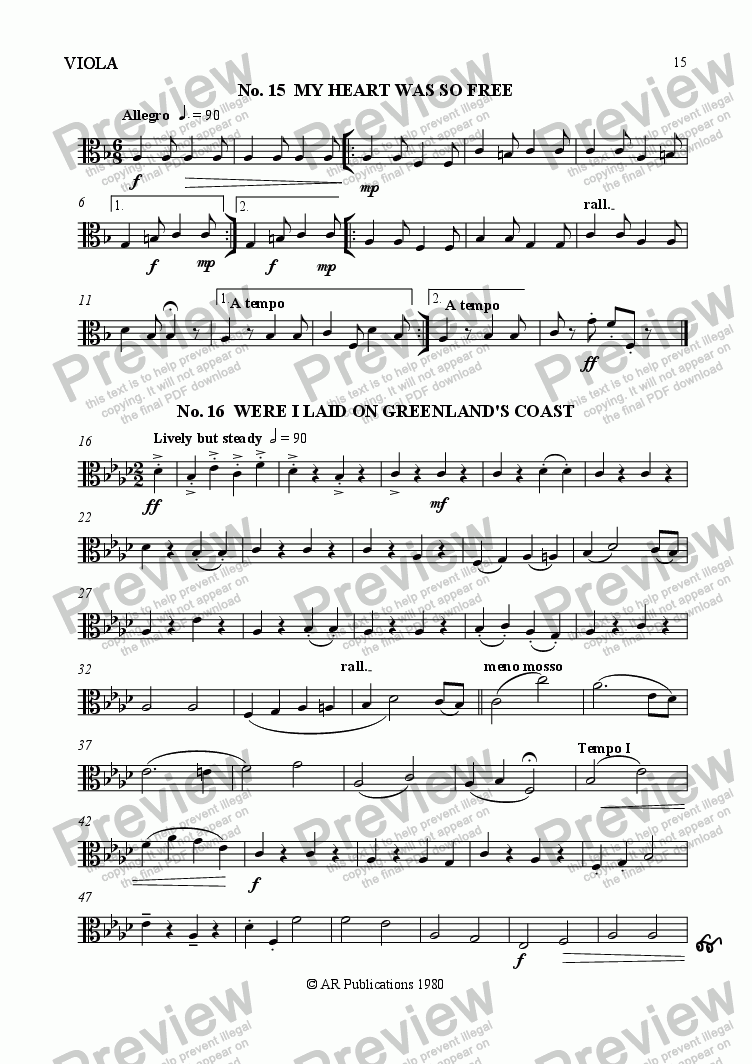 page one of the Viola part from Beggar's Opera - No. 15, 16, 17 & 18