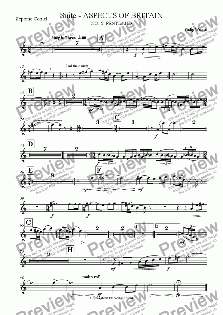 page one of the Soprano Cornet part from SUITE: Aspects of Britain No.5 PENTLAND