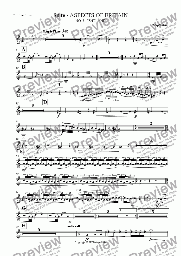 page one of the 2nd Baritone part from SUITE: Aspects of Britain No.5 PENTLAND