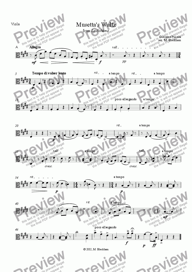 page one of the Viola part from Musetta's Waltz