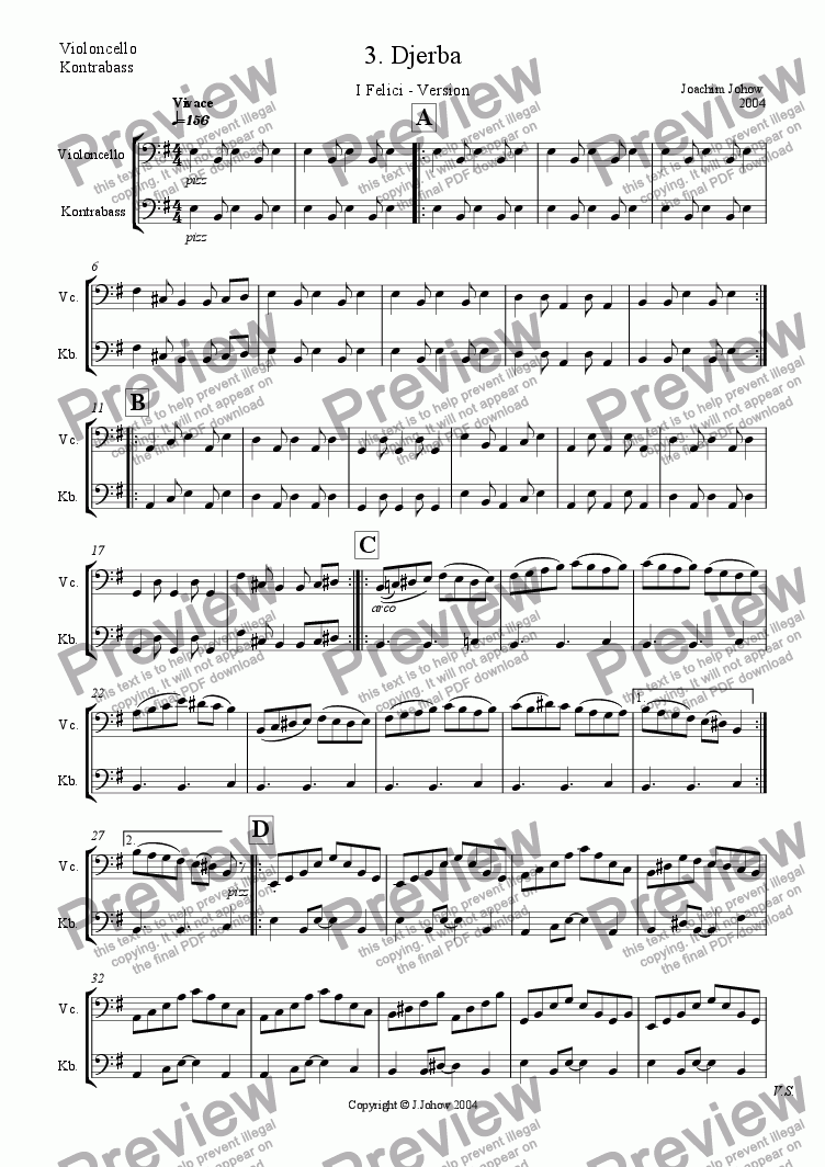 page one of the Vlc/Bass part from I Felici 03 (Djerba)
