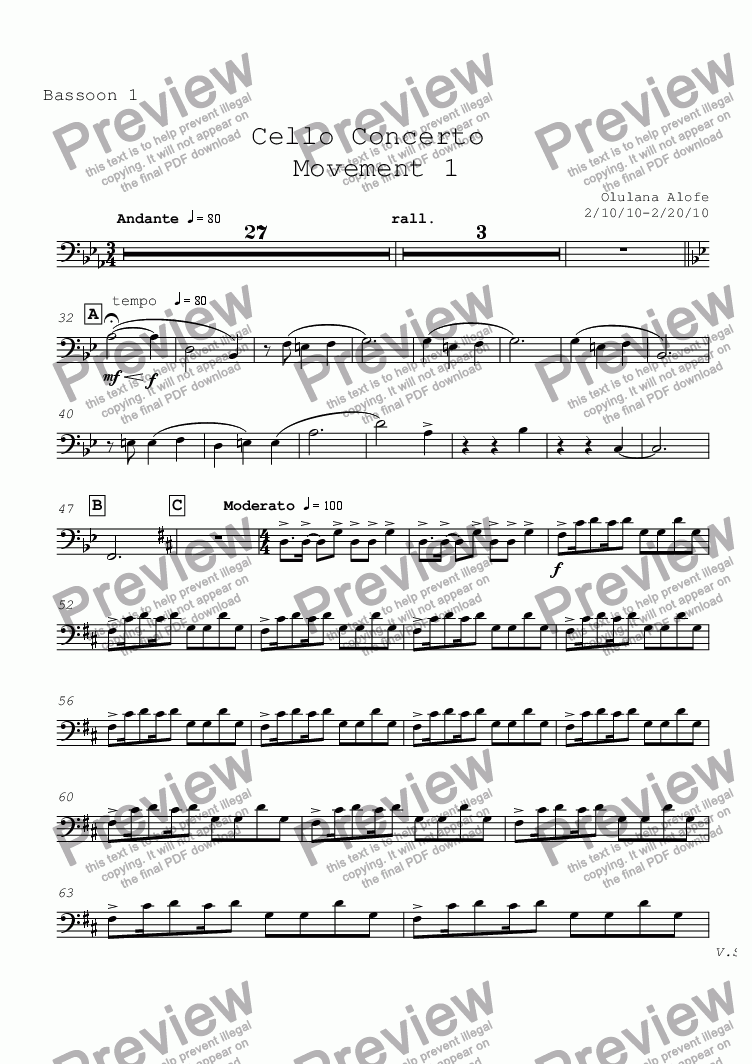 page one of the Bassoon 1 part from Cello Concerto mvt 1