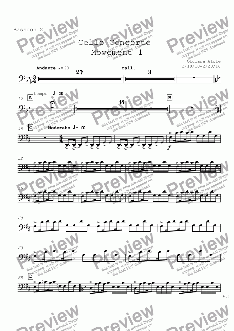 page one of the Bassoon 2 part from Cello Concerto mvt 1
