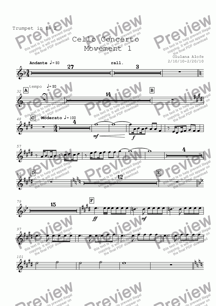 page one of the Trumpet in Bb 2 part from Cello Concerto mvt 1
