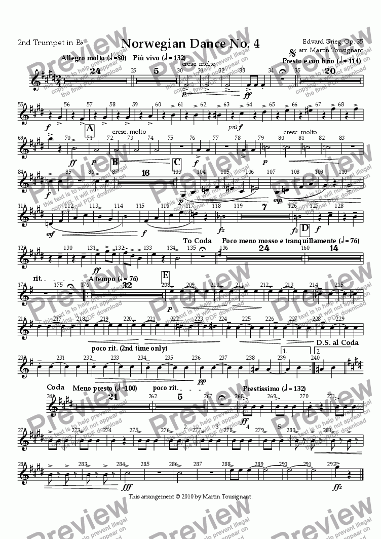 page one of the Trumpet 2 part from Norwegian Dance No. 4