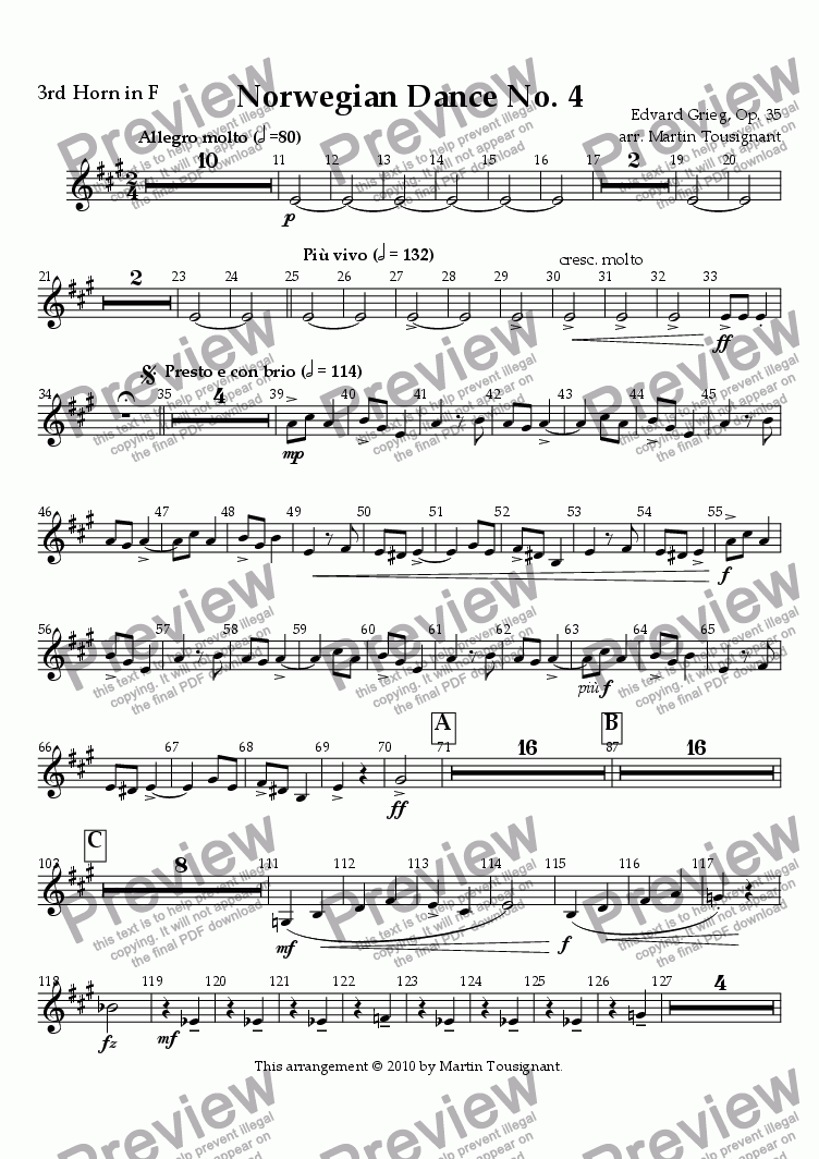 page one of the Horn 3 part from Norwegian Dance No. 4