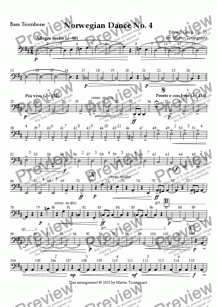 page one of the Bass Trombone part from Norwegian Dance No. 4