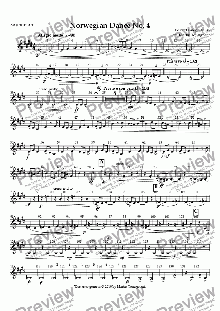 page one of the T. C. Euphonium part from Norwegian Dance No. 4