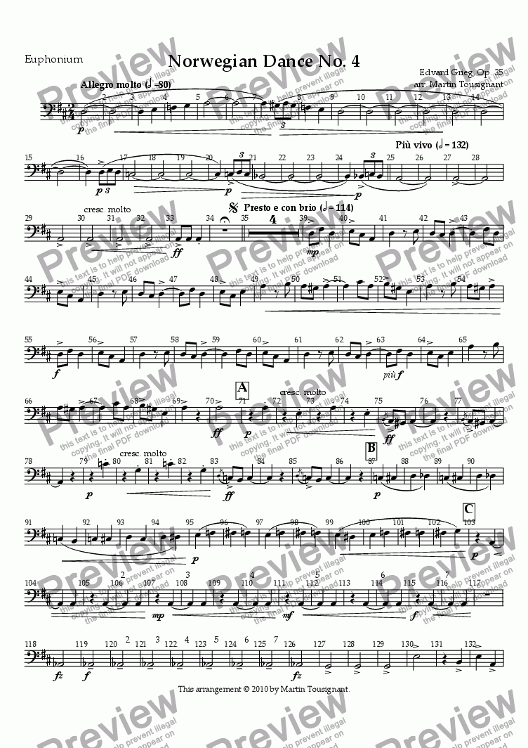 page one of the B. C. Euphonium part from Norwegian Dance No. 4