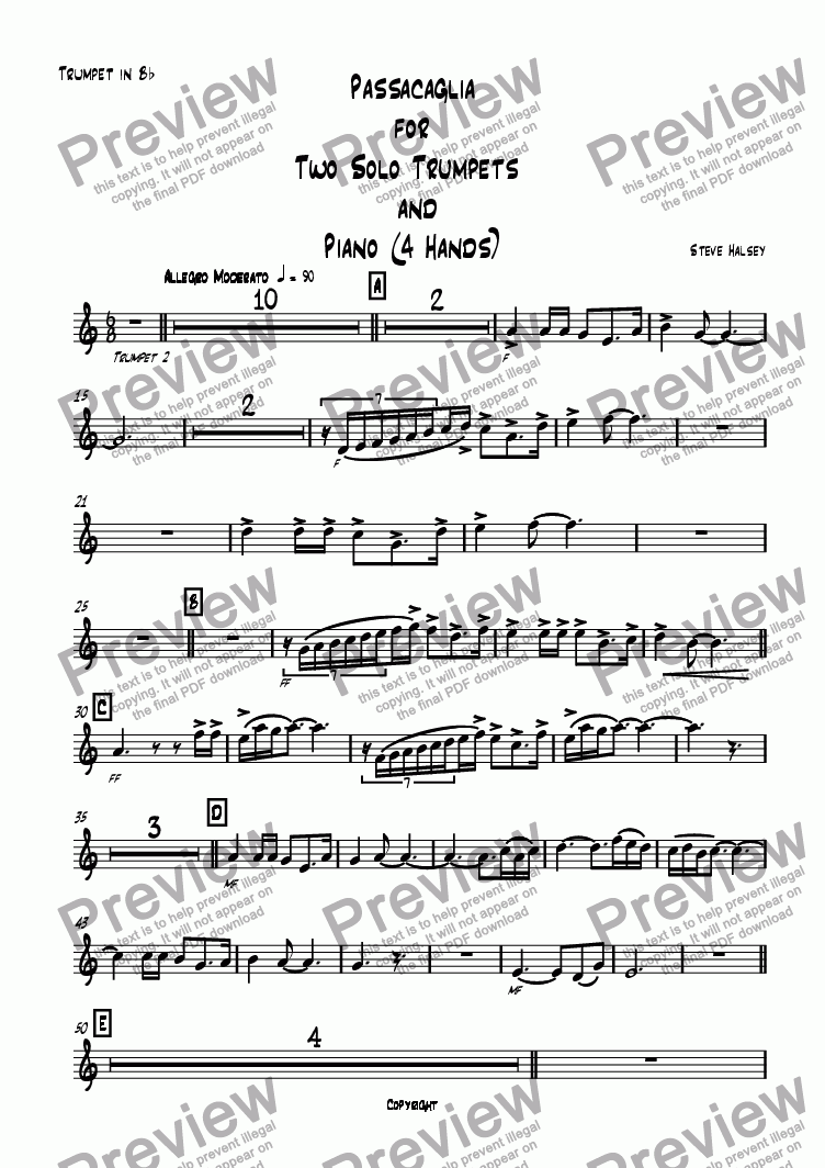 page one of the Trumpet 2 part from Passacaglia for 2 Trumpets in C and Piano 4 Hands