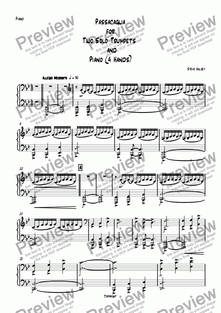 page one of the Piano low part part from Passacaglia for 2 Trumpets in C and Piano 4 Hands