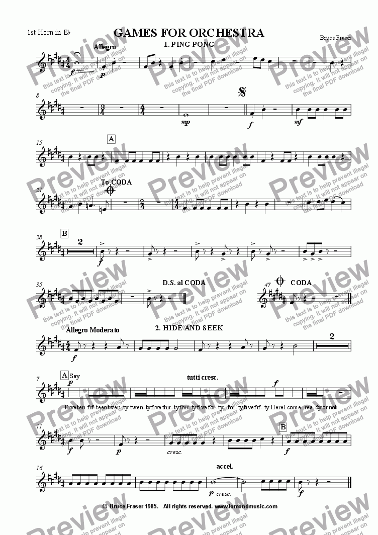 page one of the 1st Horn in Eb part from GAMES FOR ORCHESTRA