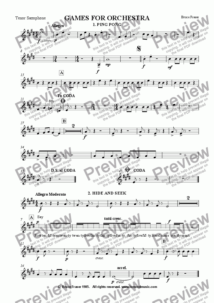 page one of the Tenor Sax (1st trombone) part from GAMES FOR ORCHESTRA