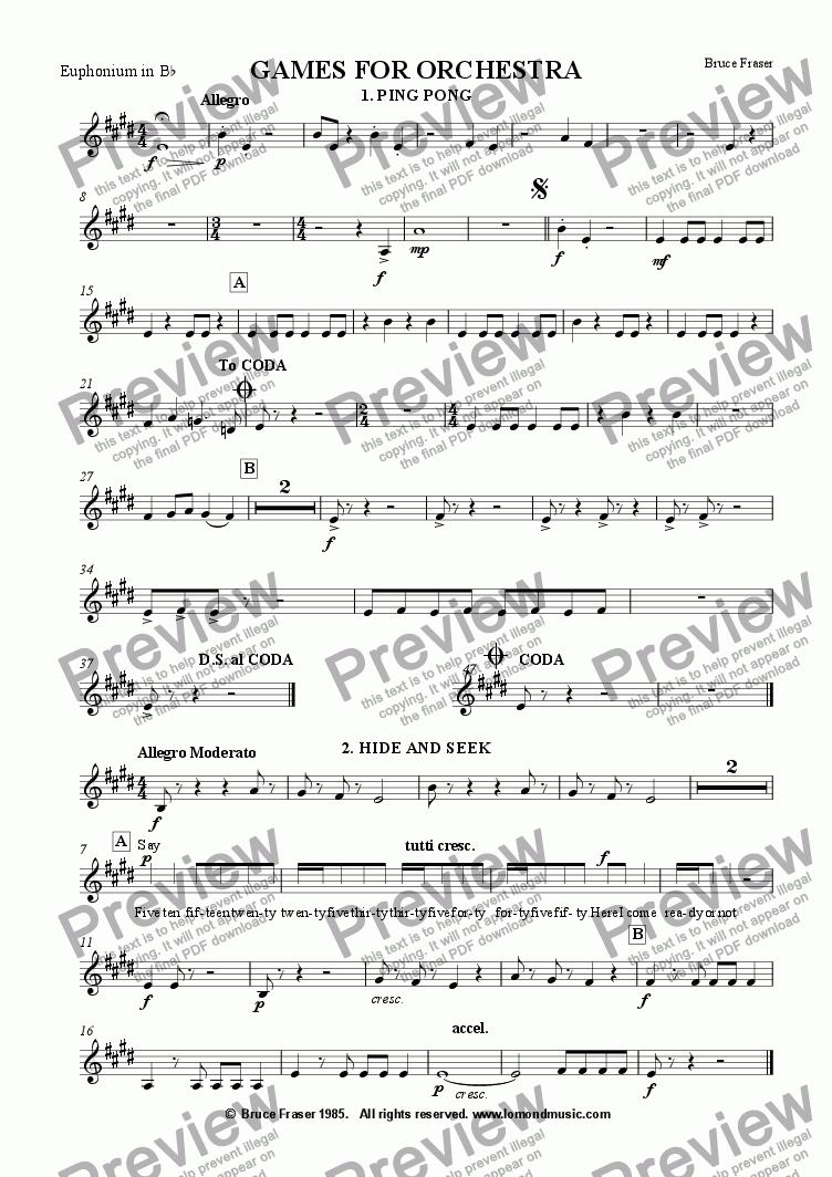 page one of the Euphonium in Bb (1st trombone) part from GAMES FOR ORCHESTRA