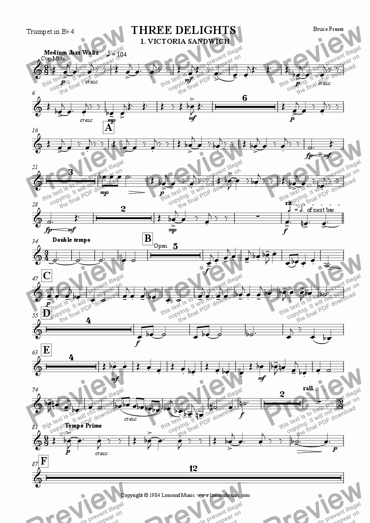 page one of the Trumpet 4 part from THREE DELIGHTS