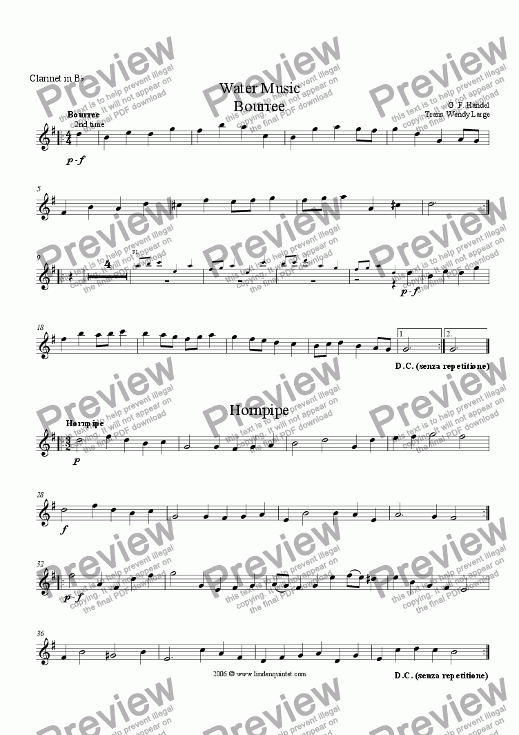 page one of the Clarinet part from Handel - Water Music Bourree & Hornpipe