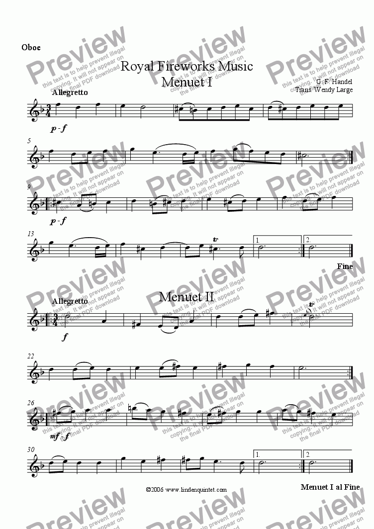page one of the Oboe part from Handel - Royal Fireworks Music Menuets I & II
