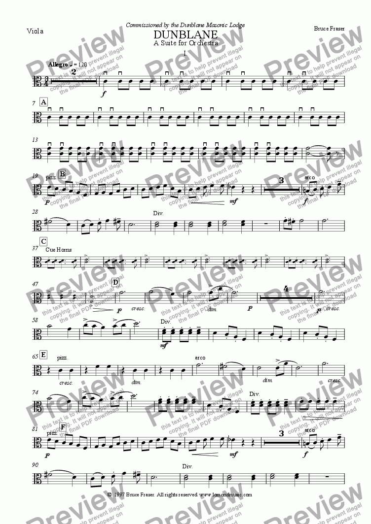 page one of the Viola part from DUNBLANE