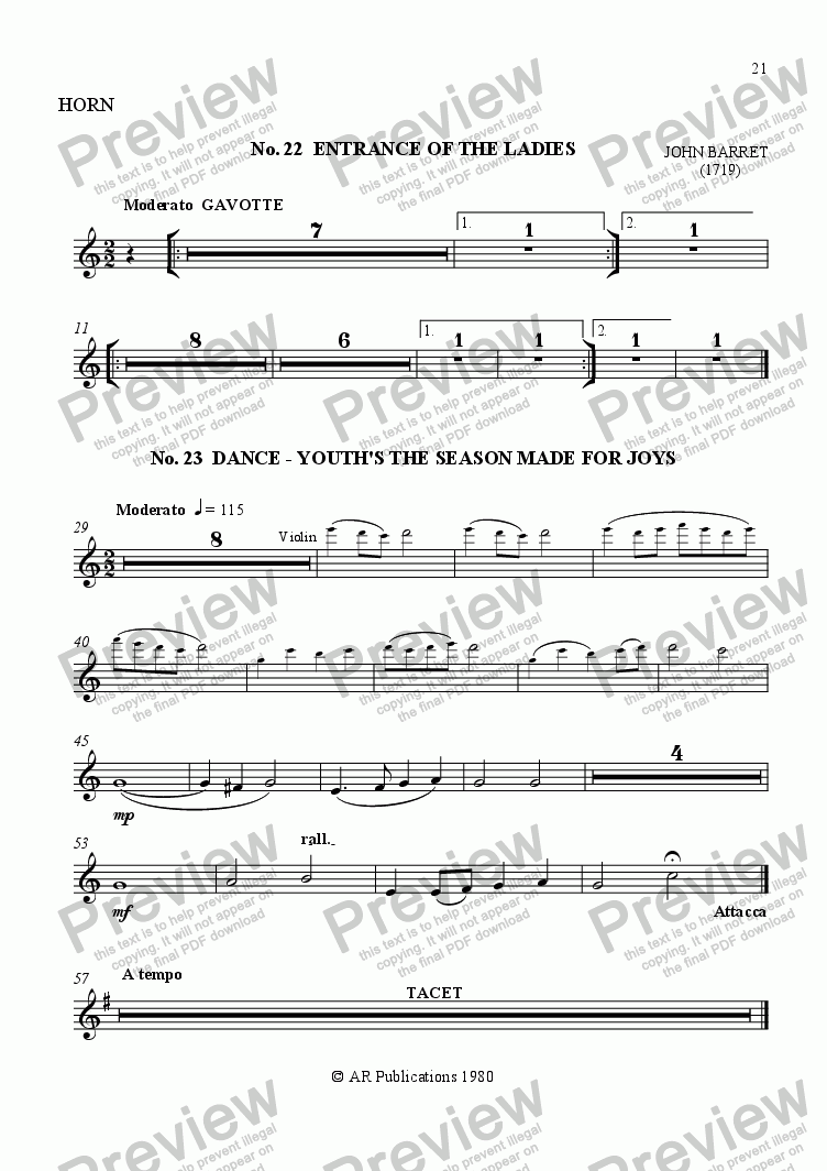 page one of the Horn part from Beggar's Opera - No. 22, 23, 24, 25 & 26