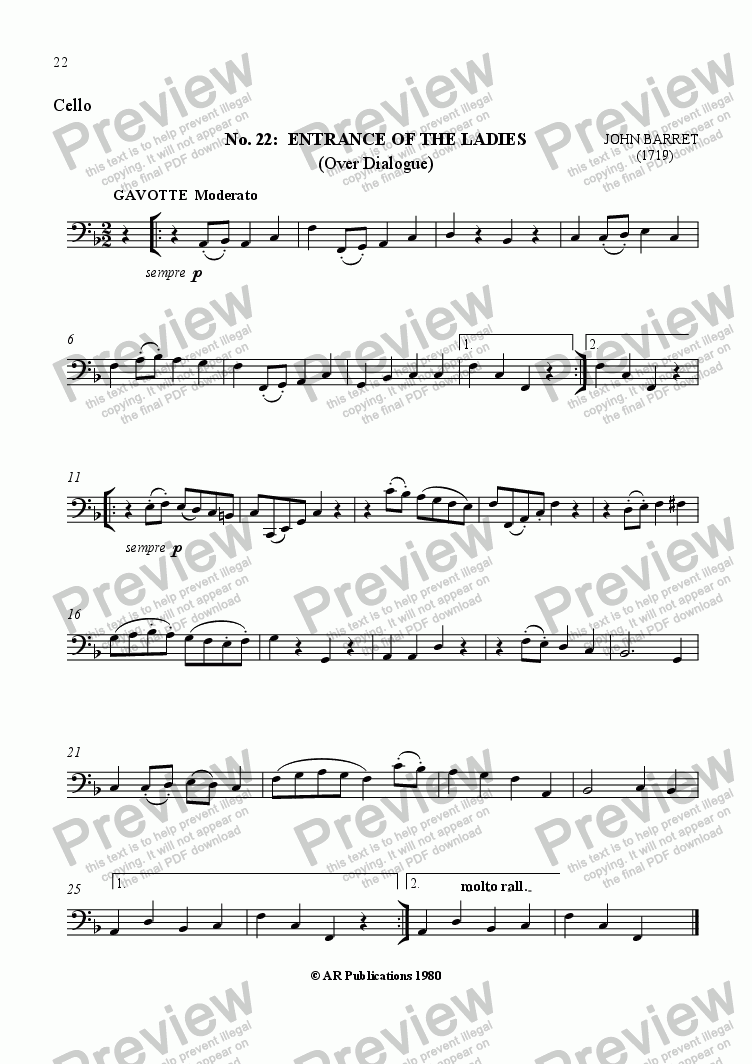 page one of the Cello part from Beggar's Opera - No. 22, 23, 24, 25 & 26