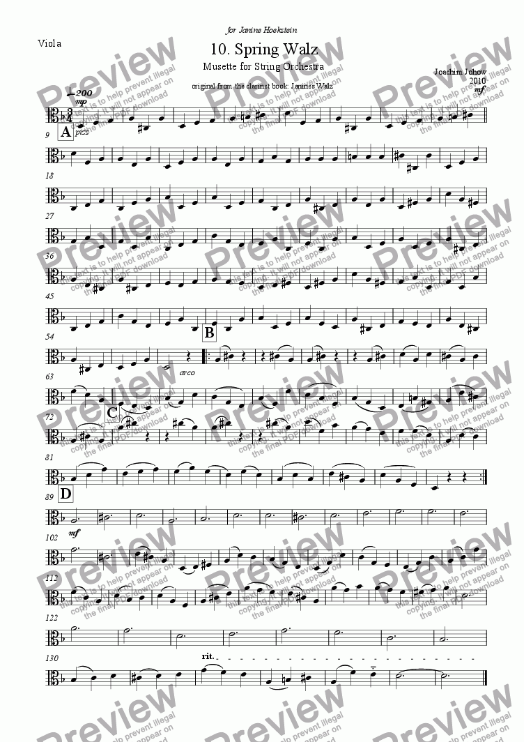 page one of the Vla part from String Orchestra 10 (Spring Walz)