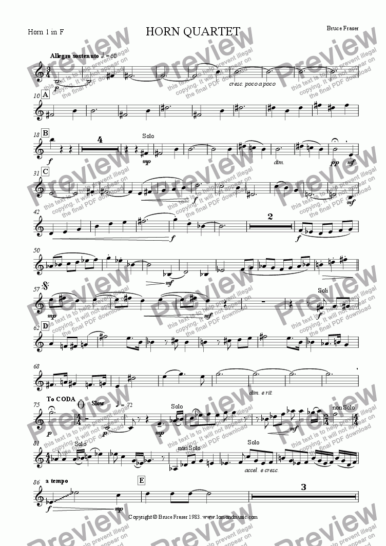 page one of the Horn 1 in F part from HORN QUARTET