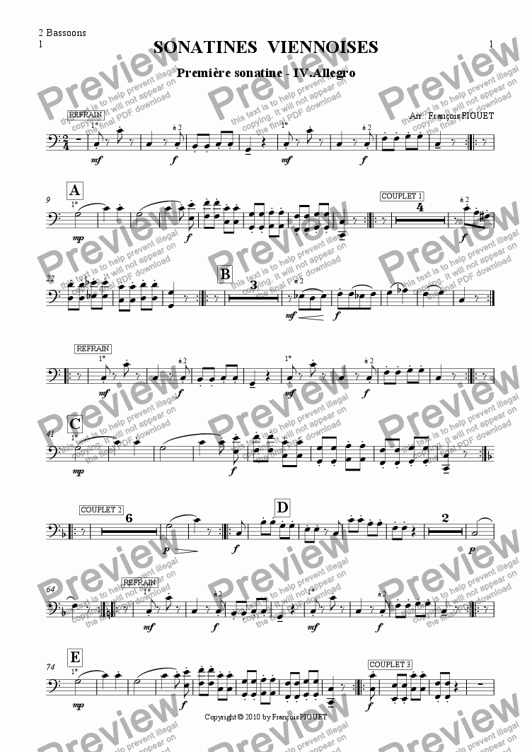 page one of the 2 Bassoons part from MOZART: Viennese Sonatina Nr 1/IV arranged for chamber orchestra