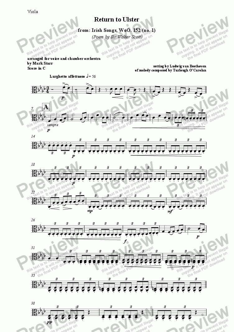 page one of the Violas part from BEETHOVEN - STARR; Return to Ulster (an orchestration by Mark Starr of Beethoven's song for voice, piano, violin and cello, with text by Sir Walter Scott)