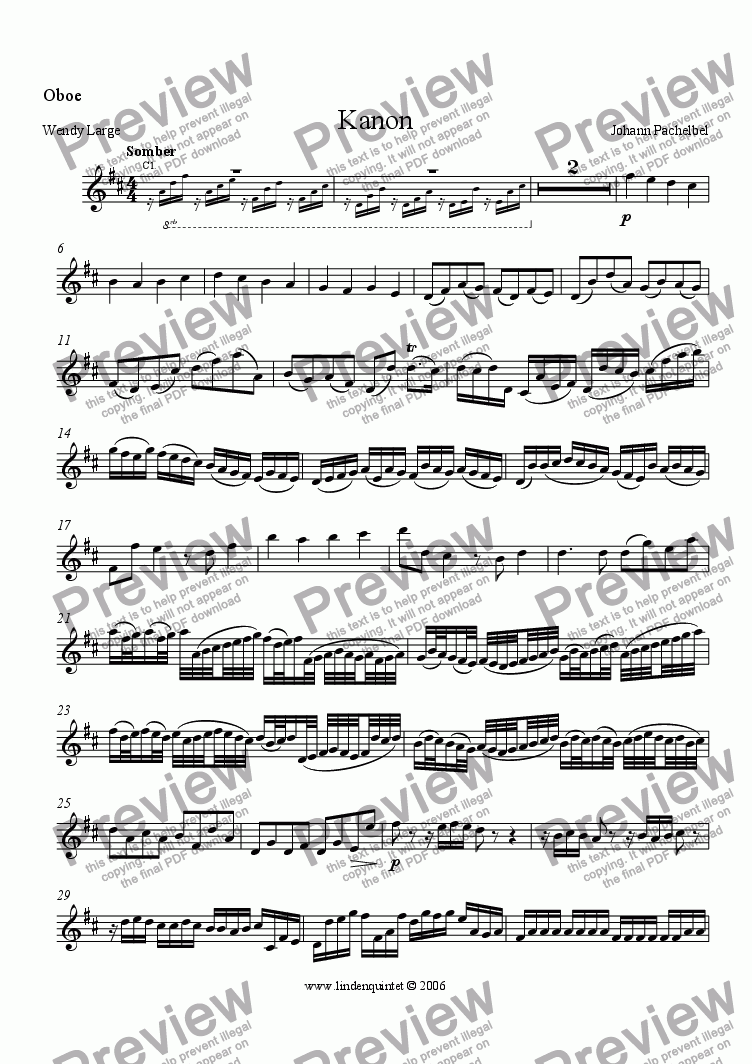 page one of the Oboe part from Pachelbel - Kanon in D