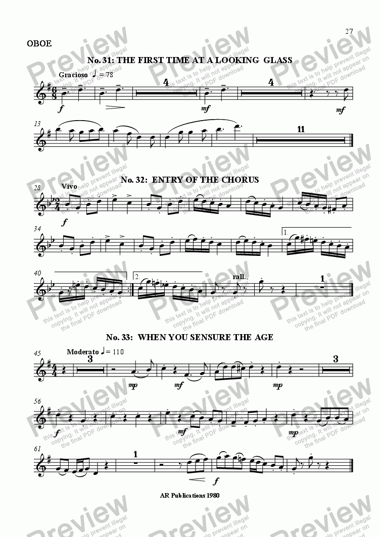 page one of the Oboe part from Beggar's Opera - No. 31, 32 & 33